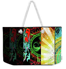 Weekender Tote Bag featuring the mixed media Cosmic Collage Mosaic Right Side Flipped by Shawn Dall