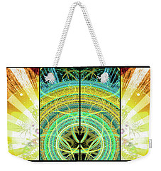 Weekender Tote Bag featuring the mixed media Cosmic Collage Mosaic Right Side Mirrored by Shawn Dall