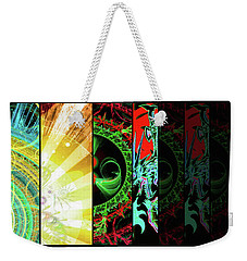 Weekender Tote Bag featuring the mixed media Cosmic Collage Mosaic Right Side by Shawn Dall