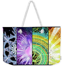 Weekender Tote Bag featuring the mixed media Cosmic Collage Mosaic by Shawn Dall