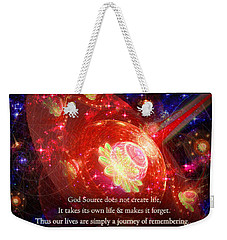 Weekender Tote Bag featuring the mixed media Cosmic Inspiration God Source 2 by Shawn Dall