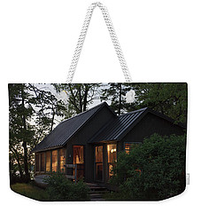 Weekender Tote Bag featuring the photograph Cosy Cabin In The Woods by Gary Eason