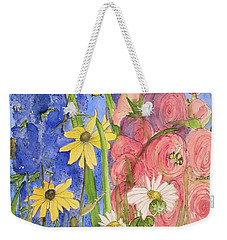 Cottage Garden Daisies And Blue Skies Weekender Tote Bag