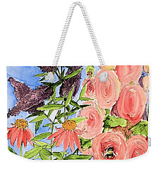 Cottage Garden Hollyhock Bees Blue Skie Weekender Tote Bag