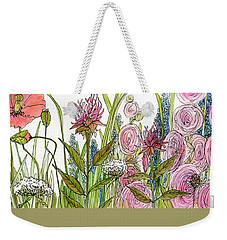Cottage Hollyhock Garden Weekender Tote Bag by Laurie Rohner