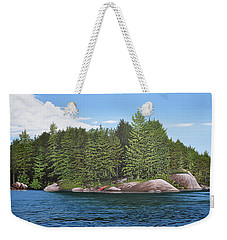 Weekender Tote Bag featuring the painting Cottage View Silver Lake by Kenneth M Kirsch