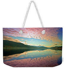 Weekender Tote Bag featuring the photograph Cotton Candy Clouds At Skaha Lake by Tara Turner