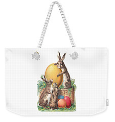Weekender Tote Bag featuring the digital art Cottontails And Eggs by Reinvintaged