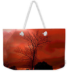 Weekender Tote Bag featuring the photograph Cottonwood Crimson Sunset by Joyce Dickens