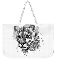 Weekender Tote Bag featuring the mixed media Cougar Head Black And White by Marian Voicu