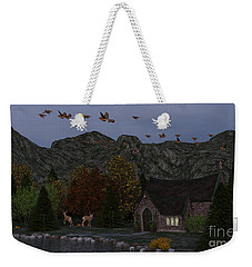Weekender Tote Bag featuring the digital art Country Church Autumn At Twilight by Methune Hively