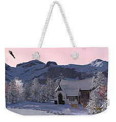Weekender Tote Bag featuring the digital art Country Church by Methune Hively