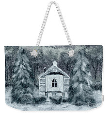 Weekender Tote Bag featuring the digital art Country Church On A Snowy Night by Lois Bryan
