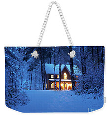 Country House With Lights On Snowy Winter Evening Ontario Canada Weekender Tote Bag
