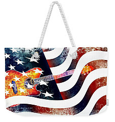 Country Music Guitar And American Flag Weekender Tote Bag by Annie Zeno