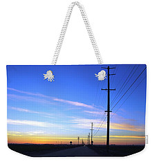 Weekender Tote Bag featuring the photograph Country Open Road Sunset - Blue Sky by Matt Harang