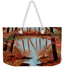 Weekender Tote Bag featuring the painting Country Reflections by Leslie Allen