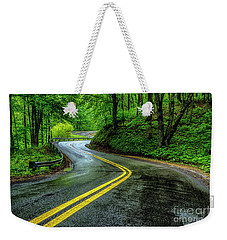 Country Road In Spring Rain Weekender Tote Bag