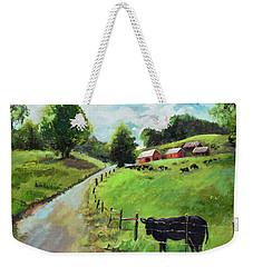 Weekender Tote Bag featuring the painting Country Roads Of Georgia- Ellijay Rural Scene by Jan Dappen
