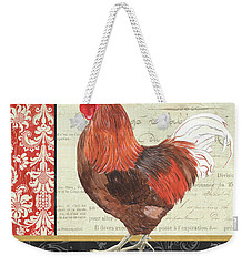 Weekender Tote Bag featuring the painting Country Rooster 2 by Debbie DeWitt