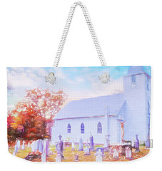 Country White Church And Old Cemetery. Weekender Tote Bag