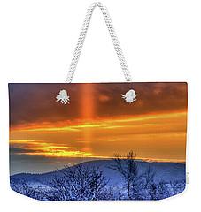Country Winter Sun Pillar Weekender Tote Bag by Fiskr Larsen
