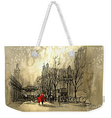 Couple In City Weekender Tote Bag