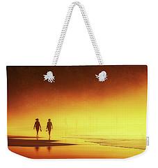 Couple Of Women Walking On Beach Weekender Tote Bag