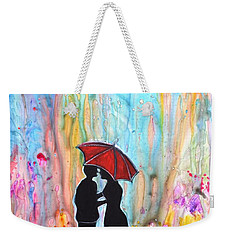 Couple On A Rainy Date Romantic Painting For Valentine Weekender Tote Bag