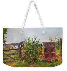 Weekender Tote Bag featuring the painting Courtney's Gate - Chateau Meichtry Vineyard - Red Barrel by Jan Dappen