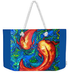 Weekender Tote Bag featuring the painting Courtship  by Rae Chichilnitsky