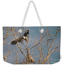 Weekender Tote Bag featuring the photograph Courtship Ritual Of The Great Blue Heron by David Bearden
