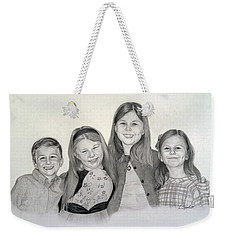 Weekender Tote Bag featuring the drawing Cousins  by Lori Ippolito