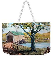 Covered Bridge, Americana, Folk Art Weekender Tote Bag