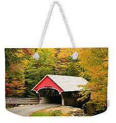 Weekender Tote Bag featuring the photograph Covered Bridge In Autumn by James Kirkikis