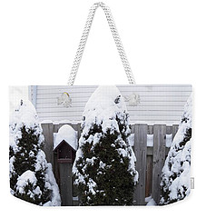 Covered In Winter White Weekender Tote Bag