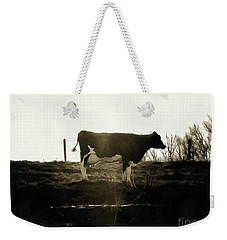 Weekender Tote Bag featuring the photograph Cow - Black And White - Profile by Janine Riley