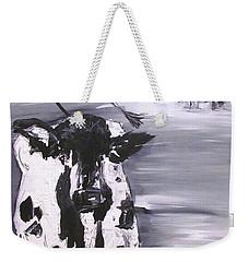 Cow In Winter Weekender Tote Bag by Terri Einer