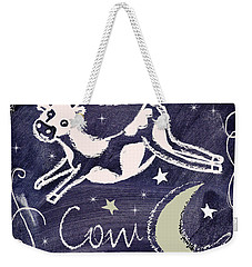 Cow Jumped Over The Moon Chalkboard Art Weekender Tote Bag by Mindy Sommers