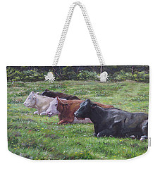 Cow Line Up In Field Weekender Tote Bag