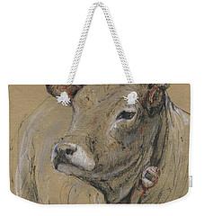 Cow Portrait Painting Weekender Tote Bag by Juan Bosco