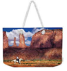 Weekender Tote Bag featuring the photograph Cowboy And Three Sisters by William Lee