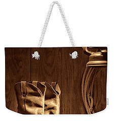 Cowboy Boots At The Ranch Weekender Tote Bag by American West Legend By Olivier Le Queinec