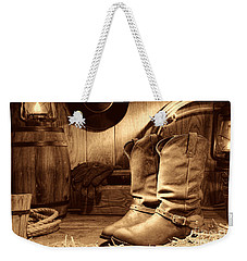 Cowboy Boots In A Ranch Barn Weekender Tote Bag