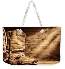 Cowboy Boots On Wood Floor Weekender Tote Bag