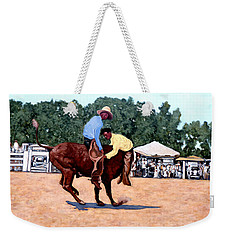 Weekender Tote Bag featuring the painting Cowboy Conundrum by Tom Roderick