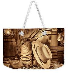 Cowboy Gear In Barn Weekender Tote Bag