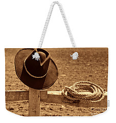 Cowboy Hat And Rope On A Fence Weekender Tote Bag by American West Legend By Olivier Le Queinec