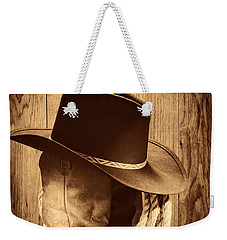 Cowboy Hat On Boots Weekender Tote Bag by American West Legend By Olivier Le Queinec