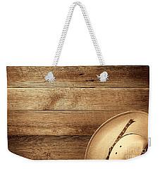 Cowboy Hat On Wood Table Weekender Tote Bag